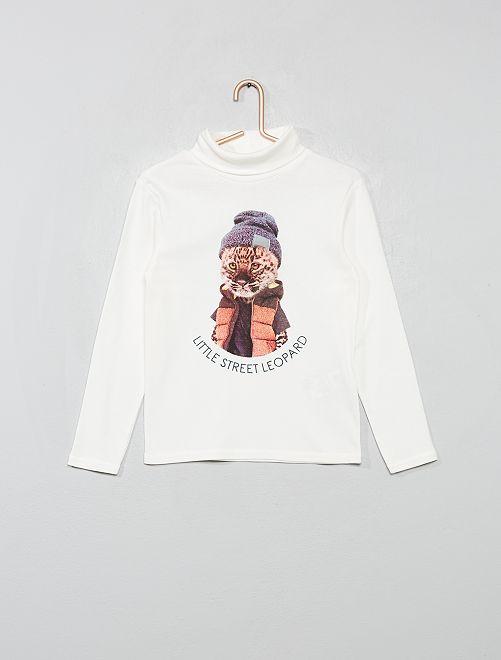 Camiseta de cuello alto estampada 'eco-concepción'                                                                                         BLANCO
