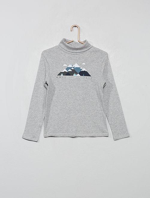 Camiseta de cuello alto estampada 'eco-concepción'                                                         GRIS