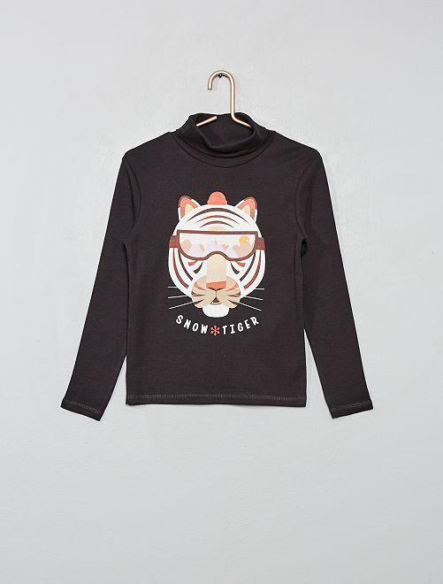 Camiseta de cuello alto estampada 'eco-concepción'                                                     NEGRO