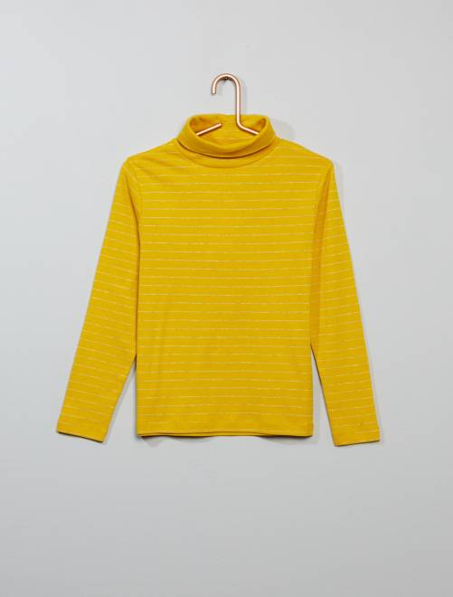 Camiseta de cuello vuelto a rayas                     amarillo Chico