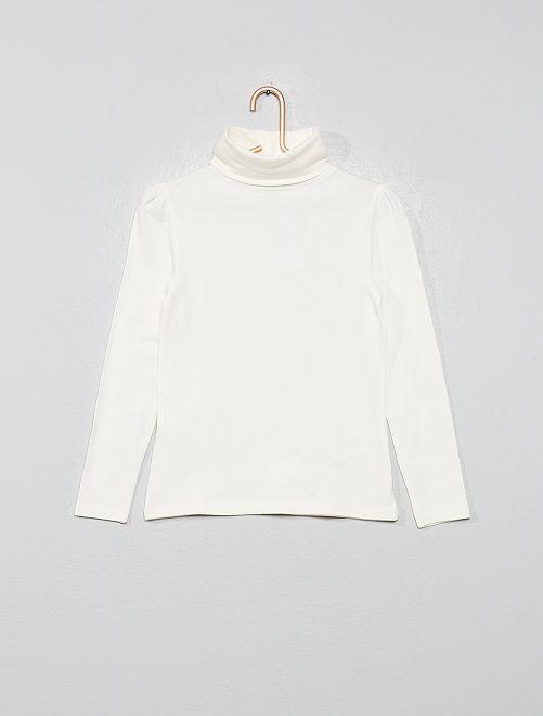Camiseta de cuello vuelto con frunces en los hombros                                                                             blanco nieve