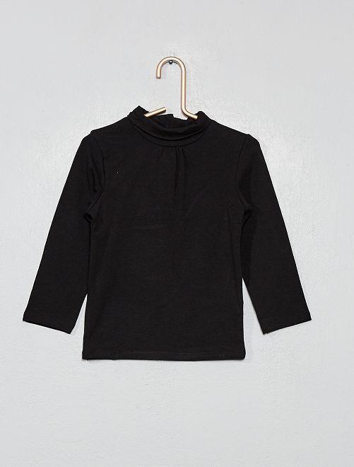 Camiseta de cuello vuelto de algodón orgánico                                                         negro