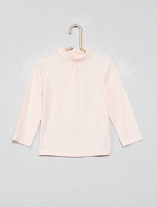 Camiseta de cuello vuelto de algodón orgánico                                                                 ROSA