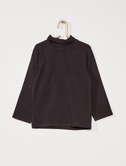 Camiseta de cuello vuelto eco-concepción                                                                 negro