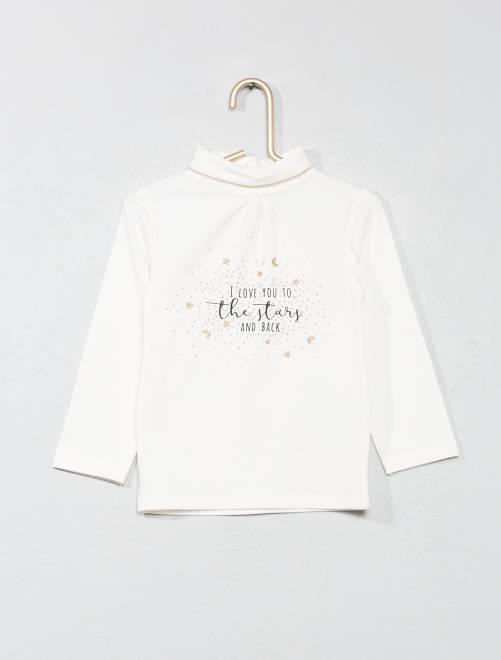 Camiseta de cuello vuelto estampada con brillos                                                                             BLANCO Bebé niña