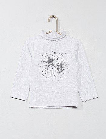 Niña 0-36 meses - Camiseta de cuello vuelto estampada con brillos - Kiabi 0afdef83c12