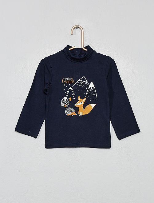 Camiseta de cuello vuelto estampada de algodón orgánico                                                                             AZUL