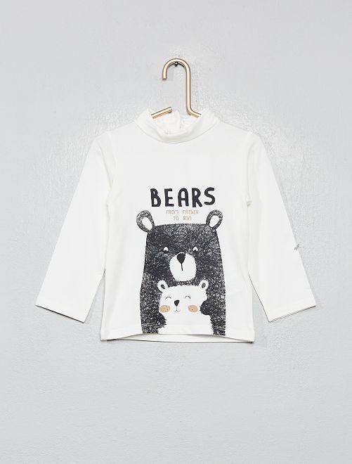 Camiseta de cuello vuelto estampada de algodón orgánico                                                                             BLANCO