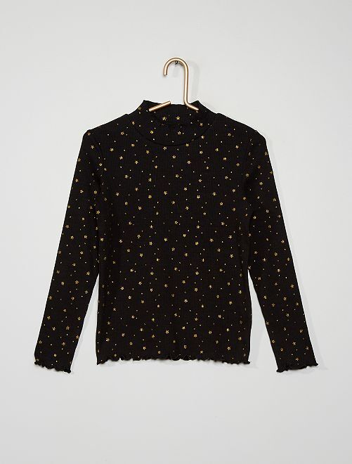 Camiseta de cuello vuelto estampada                                                                                                                             NEGRO