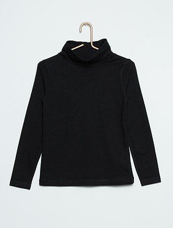 Camiseta de cuello vuelto lisa                                                                                         noir Chica