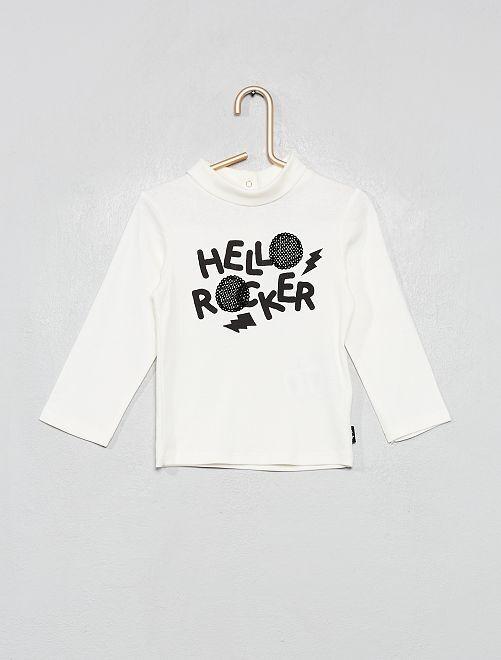 Camiseta de cuello vuelto 'rock'                             BLANCO