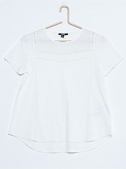 Niña 10-18 años Camiseta de dos tejidos con caída detrás