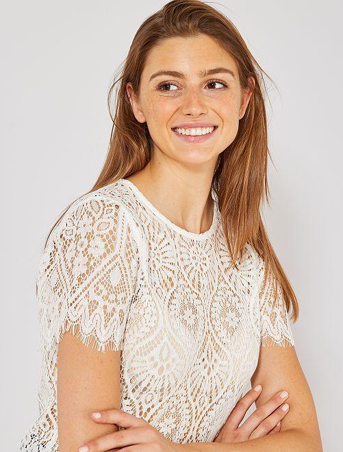 Camiseta de encaje                                                                 blanco nieve