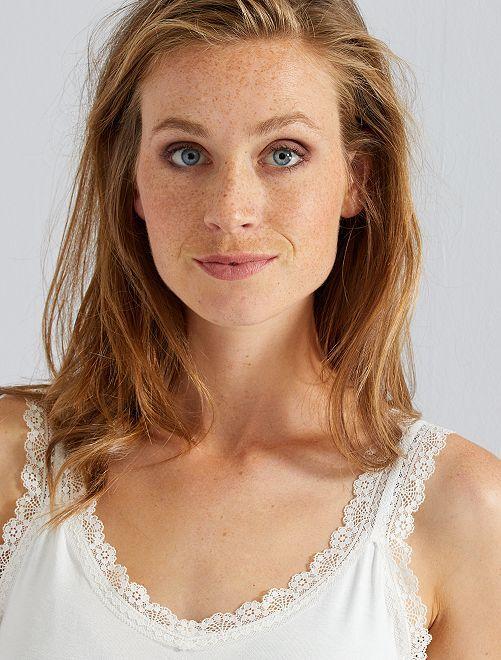 Camiseta de encaje de tirantes                                                                                                                                             blanco nieve