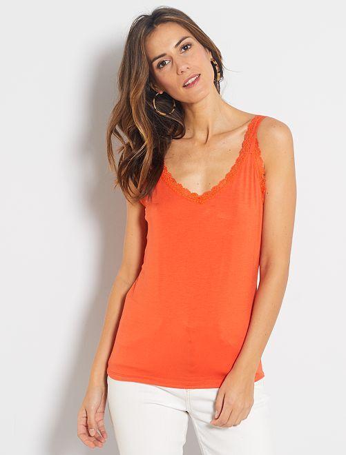 Camiseta de encaje de tirantes                                                                                                                                                     naranja
