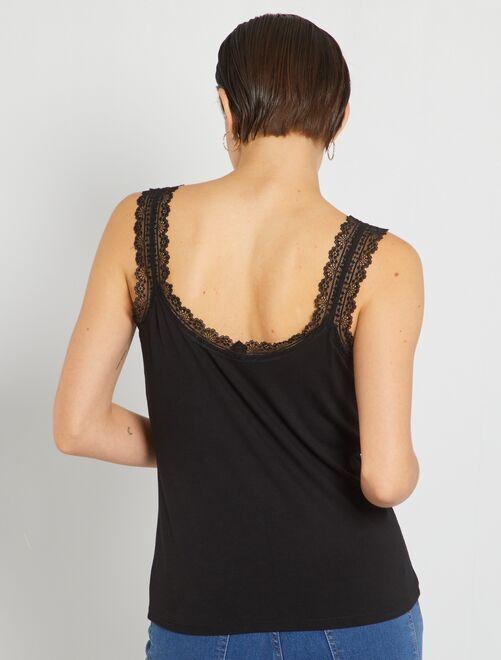 4c2aa72bf458c Camiseta de encaje de tirantes Mujer talla 34 a 48 - negro - Kiabi ...