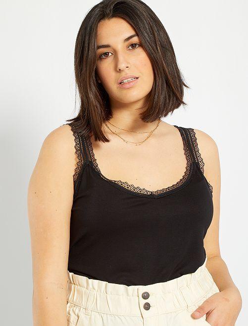 Camiseta de encaje de tirantes                                                                             negro
