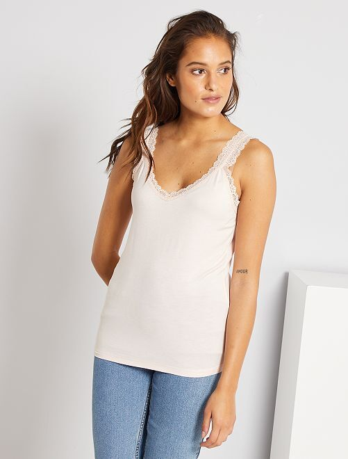 Camiseta de encaje de tirantes                                                                                                                             ROSA