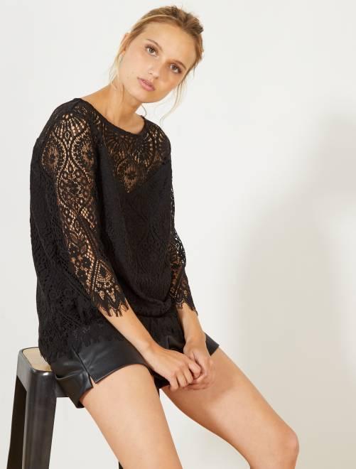 Camiseta de encaje                             negro Mujer talla 34 a 48