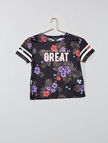 4070a5317 Niña 10-18 años - Camiseta de flores exóticas - Kiabi