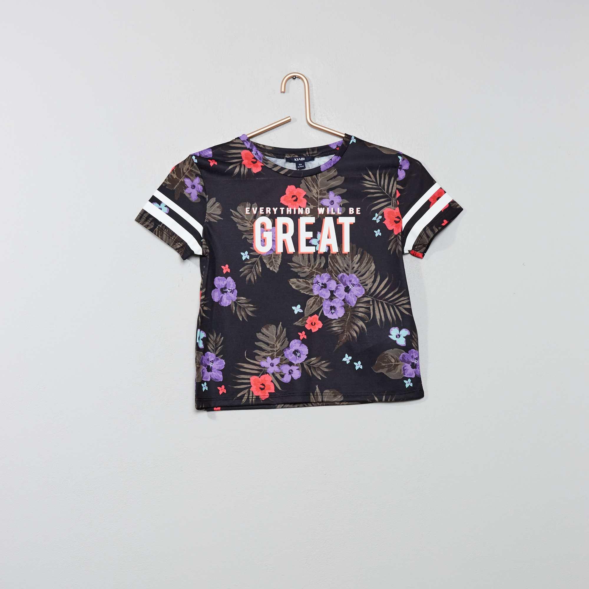f3a7323c42 Camiseta de flores exóticas Joven niña - negro - Kiabi - 10