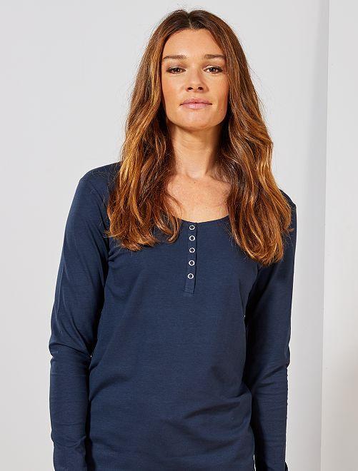 Camiseta de lactancia con abertura delantera                                         azul
