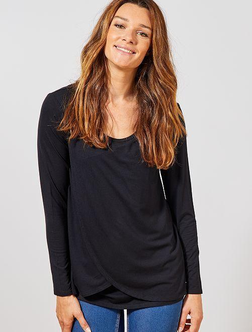 Camiseta de lactancia con abertura delantera                                         negro