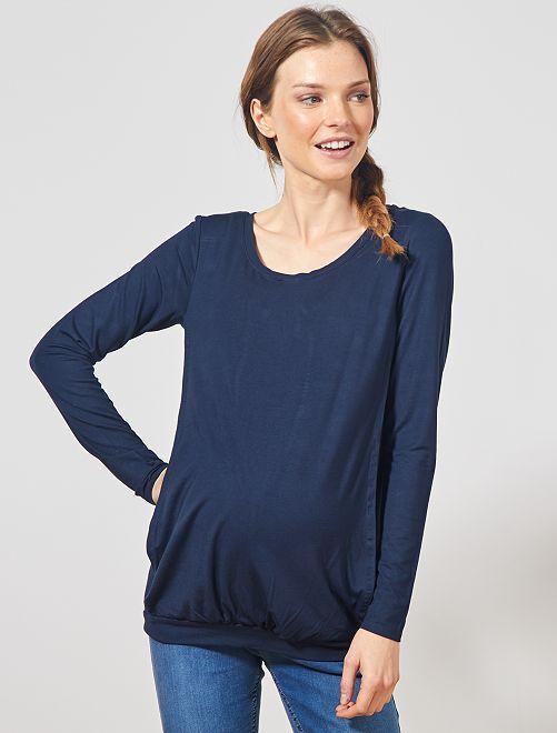 Camiseta de lactancia con abertura lateral                     azul