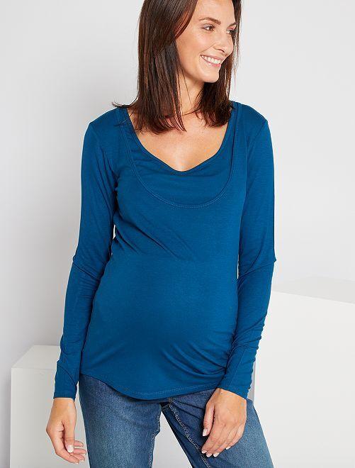 Camiseta de lactancia con cuello doble                     azul poseidon