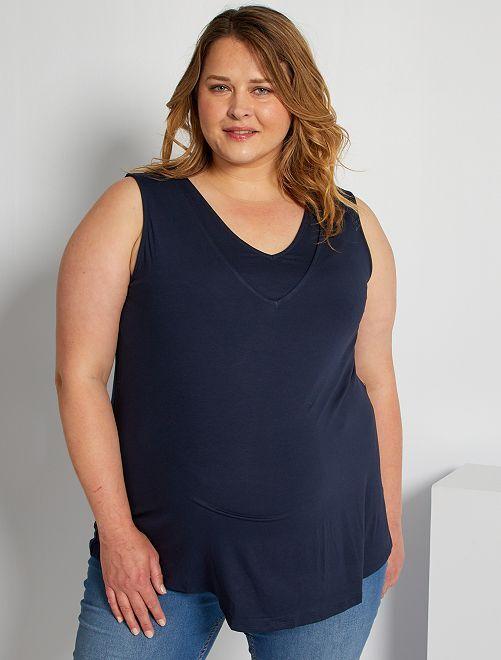 Camiseta de lactancia con doble cuello                                         azul