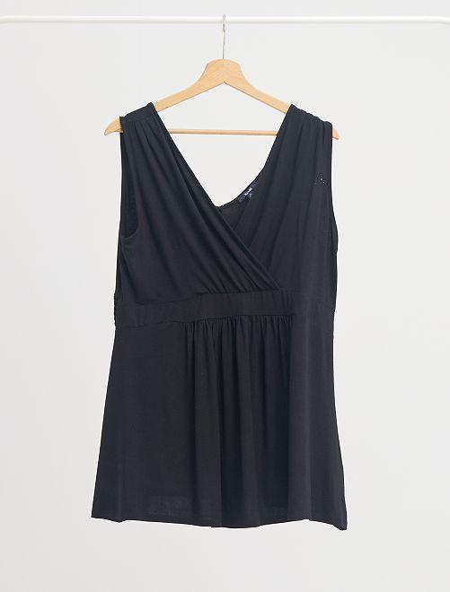 Camiseta de lactancia sin mangas con lunares                     negro