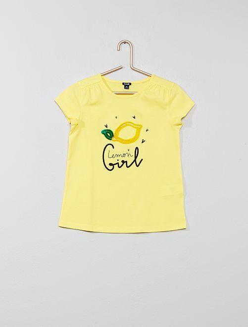 Camiseta de 'limón' de terciopelo                             AMARILLO