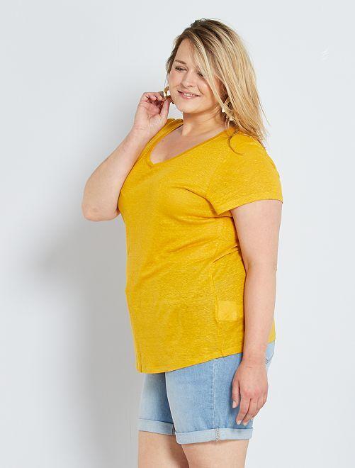 Camiseta de lino                                             AMARILLO