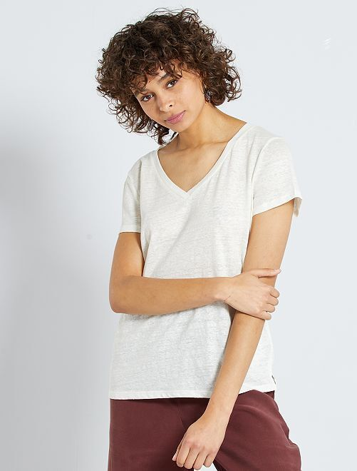 Camiseta de lino                                                                 blanco nieve