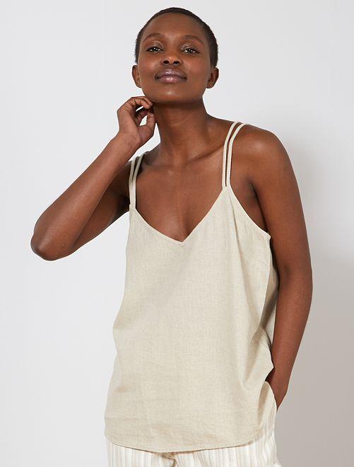 Camiseta de lino de tirantes finos                                                                                         beige Mujer talla 34 a 48