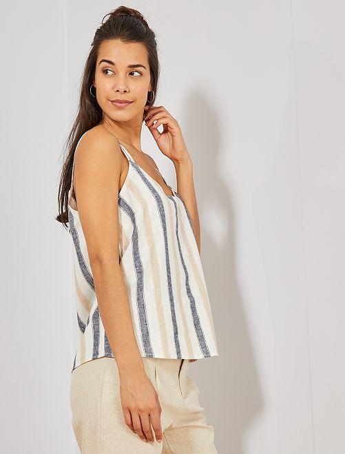 Camiseta de lino de tirantes finos                                                                                         BLANCO Mujer talla 34 a 48