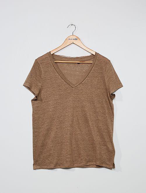 Camiseta de lino                                                     gris beige