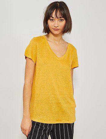 22a3c61543 Camiseta de lino puro - Kiabi
