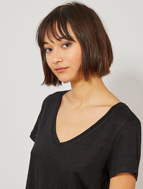 Camiseta de lino puro                                         negro Mujer talla 34 a 48