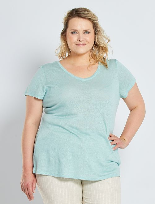 Camiseta de lino                                                                 verde gris