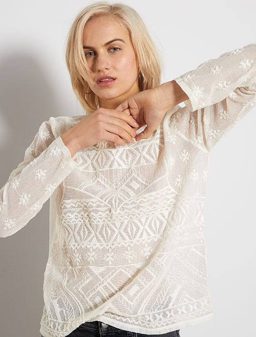 Camiseta de macramé                                                                             blanco nieve