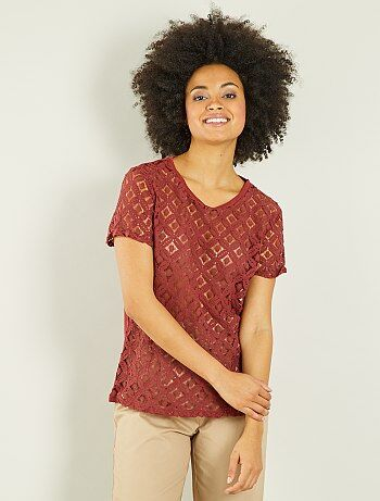 Mujer - Camiseta de macramé - Kiabi