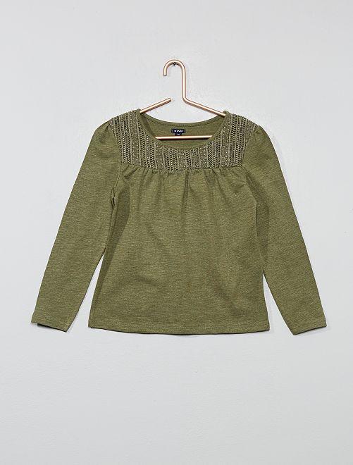 Camiseta de macramé                                         verde liquen