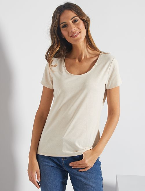 Camiseta de manga corta                                                                                                                             BEIGE