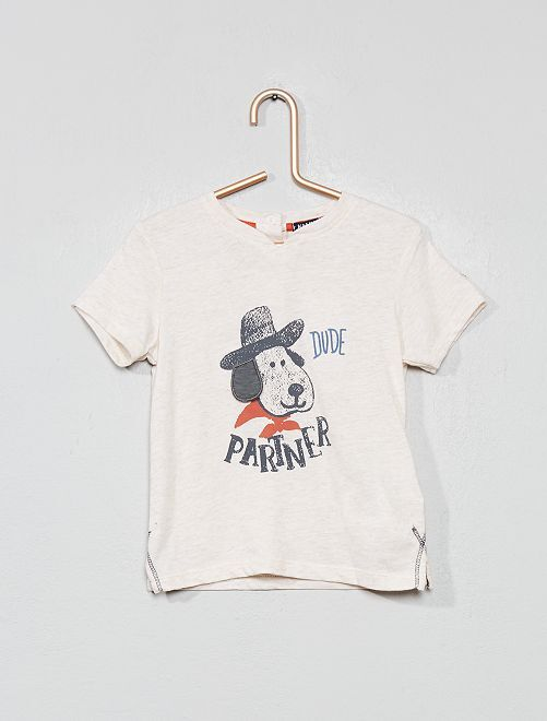 Camiseta de manga corta con adorno de 'perro'                             BLANCO Bebé niño