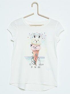 Camiseta de manga corta de algodón estampada