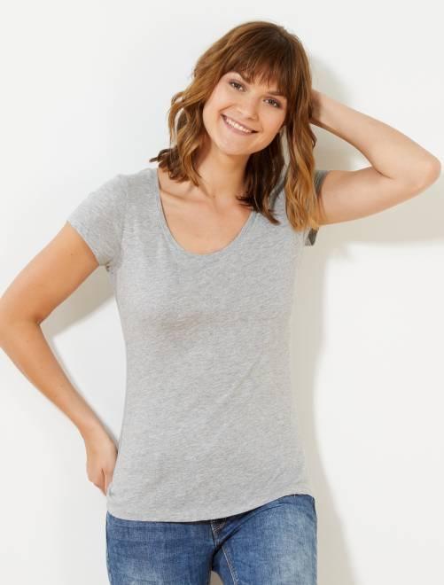Camiseta de manga corta                                                                                                                     gris claro mezclado Mujer talla 34 a 48