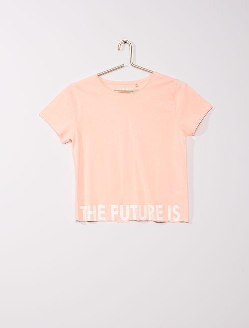 Camiseta de manga corta 'The future is yours'                             rosa