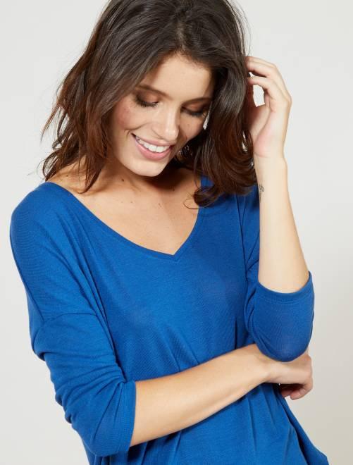 Camiseta de manga larga                                                                 azul oscuro Mujer talla 34 a 48
