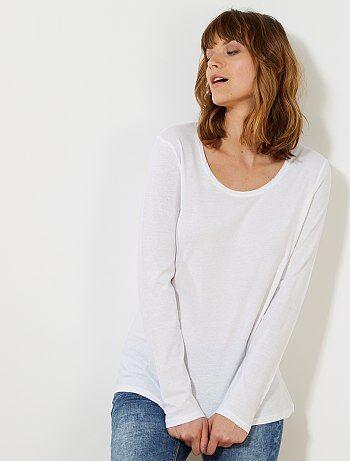 Camiseta de manga larga                                                                                                                                         blanco Mujer